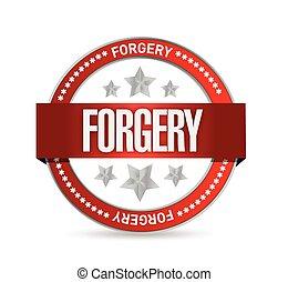 projektować, słowo, forgery., ilustracja, znak