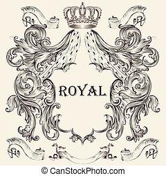 projektować, tarcza, heraldyczny, korona, piękny