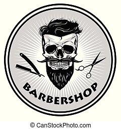 projektować, wektor, fryzjer, retro, szablon, logo, barbershop