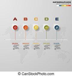 projektować, wektor, kroki, infographics, 5