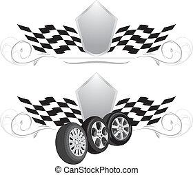 projektować, wheels., dwa, ikony