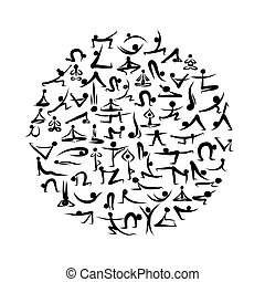 projektować, yoga, twój, zbiór, asanas