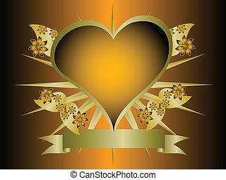 projektować, złoty, pomarańcza, gotyk, kwiatowy, serca