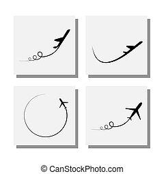 projekty, komplet, start, ikony, przelotny, -, wektor,...