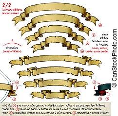 projekty, sortuje, papirus, dwa, cztery, –, 2, łukowaty, wstążki, w górę