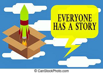 projet, écriture, mémoires, commencer, carburant, art conter, dire, lancement, story., ton, texte, haut, inspiration., main, photo, projection, everyone, fusée, contes, brûler, a, fond, conceptuel, business
