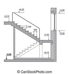 projet, arrière-plan., vecteur, traite, blanc, escalier