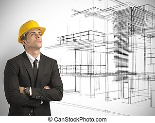 projet, bâtiments, moderne, architecte