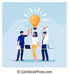 projet, brain-storming, gens, fonctionnement, business