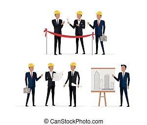 projet, casque, présentation, investisseurs, nouveau