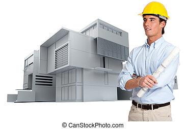 projet, construction, architecte, moderne