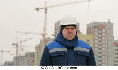 projet, contremaître, commandant, construction, fond