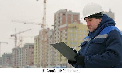 projet, contremaître, commandant, construction, surveiller