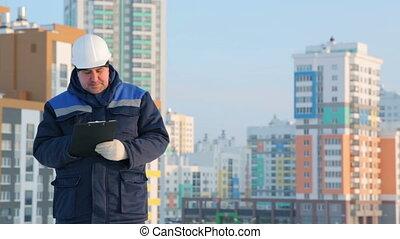 projet, contremaître, commandant, construction, tablette