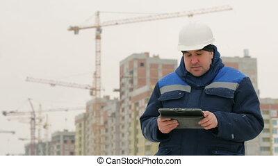 projet, contremaître, commandant, construction, tampon
