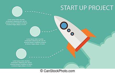 projet, début, infographic, haut, business