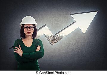 projet, développement, flèche