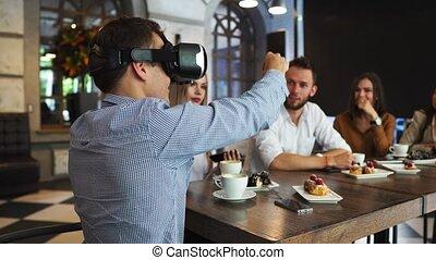 projet, femme, groupe, salle, simulateur, ecouteurs, gens, 3d, réalité virtuelle, site., construction, architectes, intérieur, avenir, ingénieurs, spectacles
