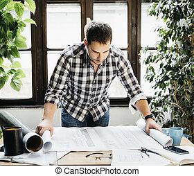 projet, fonctionnement, architectural, homme