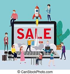projet, haut, magasin, travail, bureau fonctionnant, illustration, commencer, équipe, isolé, application, ordinateur portable, ventes, caractères, vecteur, ligne, entrepreneurs, ouvert, commerce
