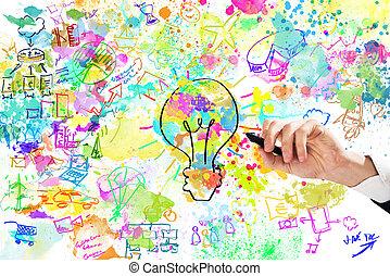 projet, homme affaires, dessine, business, créatif