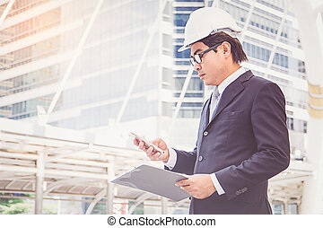 projet, homme affaires, planification, construction