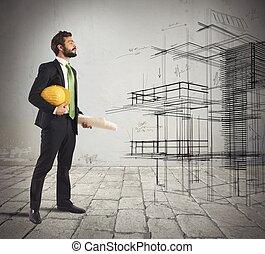projet, imagine, architecte