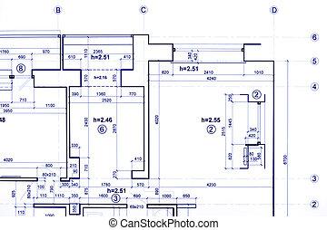 projet, ingénierie, construction, architectural, partie, plan, modèles