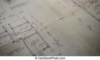 projet, logement, architectural, papiers