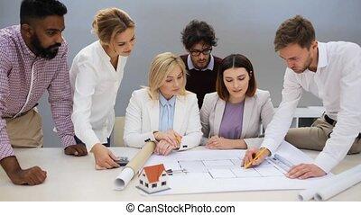 projet, maison, bureau affaires, équipe
