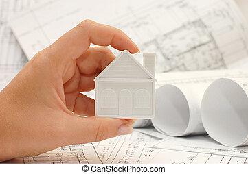 projet, maison, modèle, main
