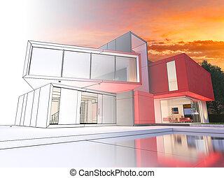 projet, maison, moderne, rouges