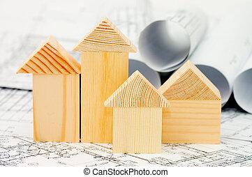 projet, modèle, maison, bois