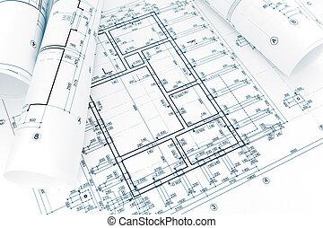 projet, modèles, plans, architectural, rouleaux