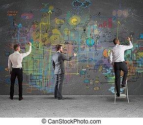 projet, nouveau, dessin, equipe affaires