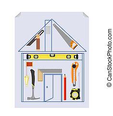 projet, outillage, carpenter`s, kit