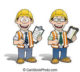 projet, ouvrier, directeur, construction, -