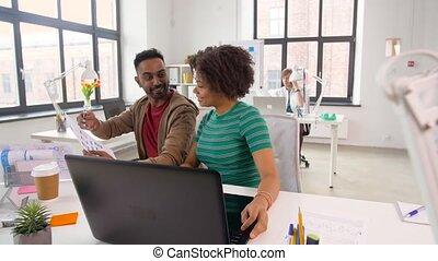 projet, ouvriers, discuter, bureau, créatif