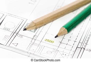 projet, partie, architectural