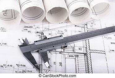 projet, plan, architecte, dessin
