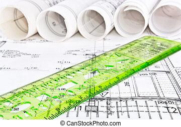projet, plan, architectural