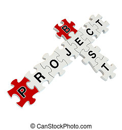 projet, puzzle, blanc, mieux, 3d