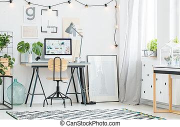 projetado, escritório, com, cadeira madeira
