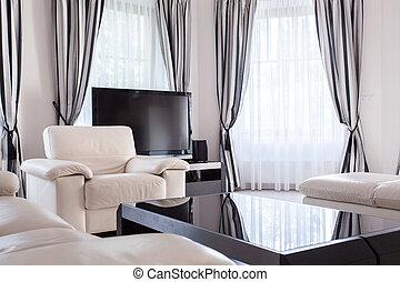 projetado, lounge, em, luxo, residência