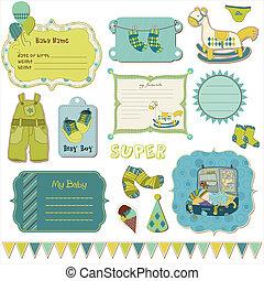 projete elementos, para, bebê, scrapbook