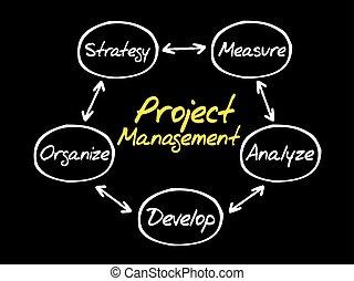 projete manejo, processo, diagrama