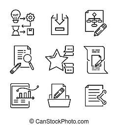 projeto, ícone, jogo, ilustração, desenho