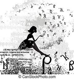 projeto abstrato, com, um, menina, grunge, texto