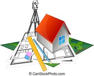 projeto, casa, construir, geodesy