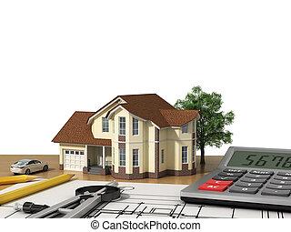 projeto, casa, modelo, tools., desenho